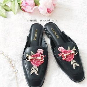 New in Box Rose Embroidered Loafer Slides